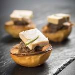 Briochain au foie gras sur compotée d'oignons